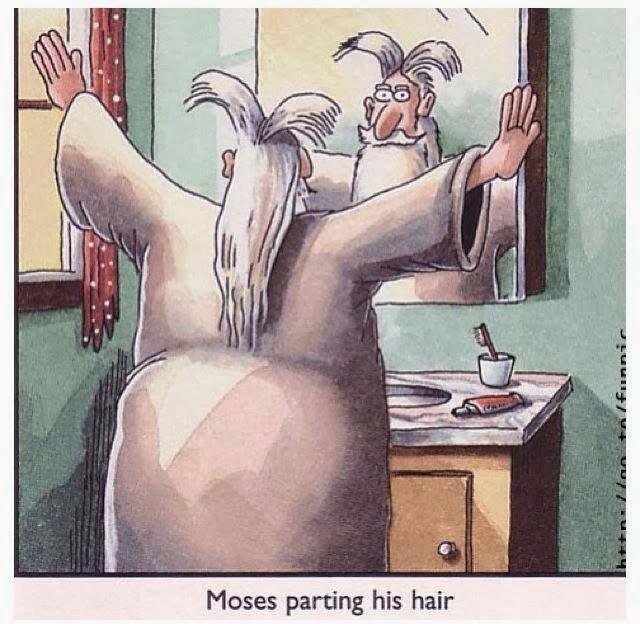 Moses parting his hair